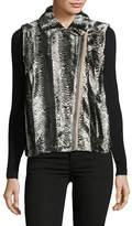 T Tahari Asymmetric Faux Fur Vest