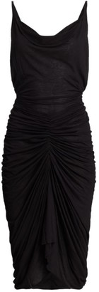 Rick Owens Lilies Ruched Cowlneck Midi Dress