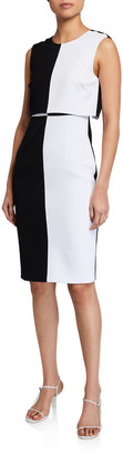 Toccin Colorblock Sleeveless Overlay Sheath Dress