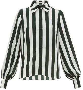 Emilia Wickstead Pelia Striped Textured-crepe Blouse - Womens - Green White