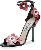 Prada Floral Ankle-Wrap 85mm Sandal, Black (Nero)