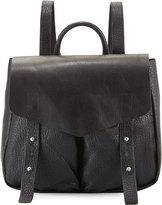 Neiman Marcus Cargo Pebbled Faux-Leather Backpack, Black/Silver