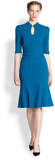 Carolina Herrera Wool Crepe Keyhole Dress