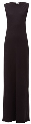 Raey High V-neck Bias-cut Silk Crepe De Chine Dress - Navy