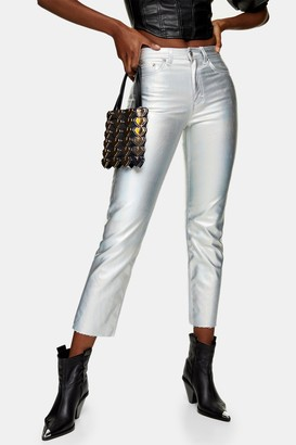 Topshop Womens Silver Iridescent Straight Jeans - Silver