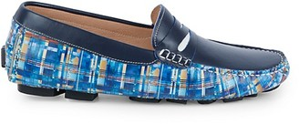 Robert Graham Haggard Printed Leather Driving Loafers