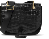 Elizabeth and James Zoe Saddle Croc-effect Leather And Suede Shoulder Bag - Black