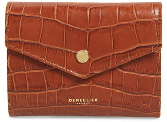 DeMellier Midi Montmartre Croc Embossed Leather Trifold Wallet