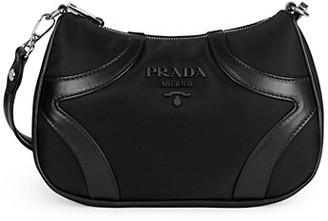Prada Leather-Trim Bowling Shoulder Bag