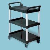 Rubbermaid RCP 3424-88 BLA Three-Shelf Utility Cart with Brushed Aluminum Upright