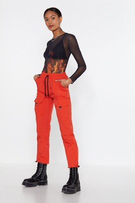 Nasty Gal Womens Easy Come D-Ring Cargo Trousers - Orange - L
