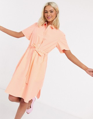 French Connection gingham check belted mini shirt dress recycled in summer orange