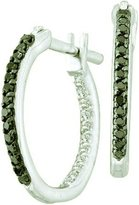 DazzlingRock Collection 0.25 Carat (ctw) 14k White Gold Black & White Diamond Ladies In & Out Hoop Earrings