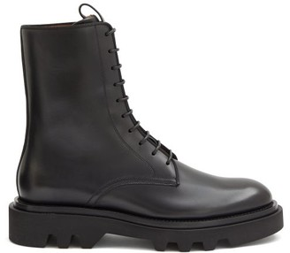 Givenchy Lace-up Leather Military Boots - Black
