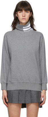 Thom Browne Grey French Terry 4-Bar Turtleneck