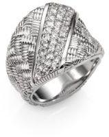 Judith Ripka Mercer White Sapphire & Sterling Silver Berge Saddle Ring