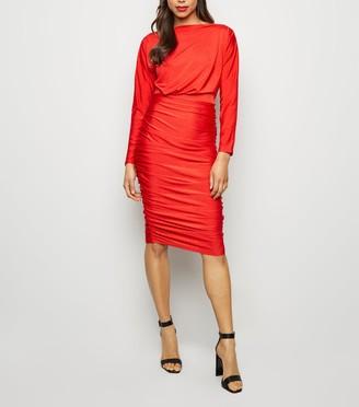 New Look AX Paris Ruched Slash Neck Dress