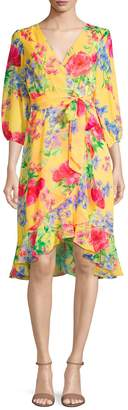 Eliza J Three-Quarter-Seeve Floral Print Dress