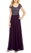 J Kara Scoop Neck Cap Sleeve Sequin Gown