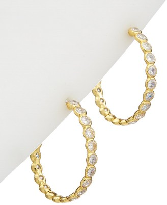 Alanna Bess Limited Collection 14K Over Silver Cz Open Back Hoops