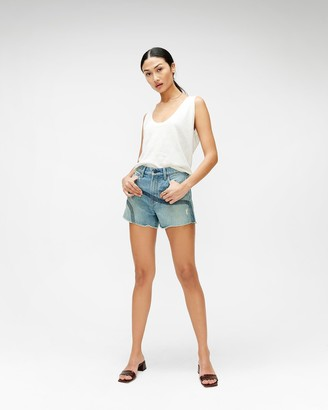 7 For All Mankind High Waist Short with Embroidery in Topanga