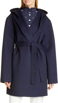 St. John Hooded Wool & Cashmere Double Face Coat