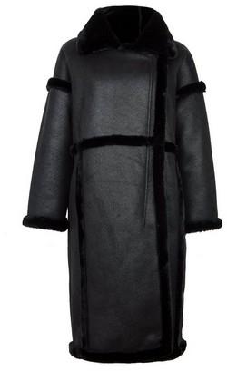 Dorothy Perkins Womens Vila Black Faux Fur Longline Coat, Black