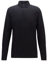 Hugo Boss Pleins Slim Fit Mercerised Grey Long Sleeve Polo