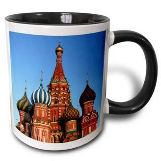 3drose 3dRose Russia, Moscow. St Basils Cathedral in Red Square - EU26 KWI0023 - Kymri Wilt - Two Tone Black Mug, 11-ounce