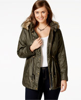 American Rag Plus Size Faux-Fur-Trim Hooded Parka, Only at Macy's