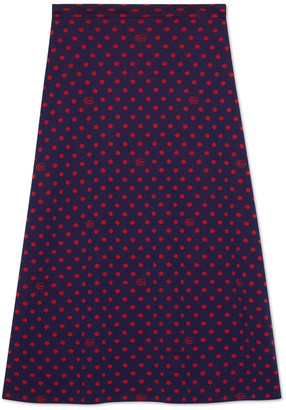 Gucci Polka dot and Double G wool skirt