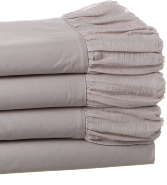 Boho Bed Voile Ruched Sheet Set Pebble