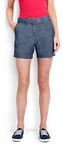 """Lands' End Women's Not-Too-Low Rise 5"""" Chino Shorts-Navy Dobby Stripe"""