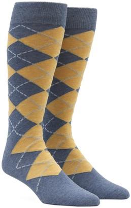 Tie Bar New Argyle Yellow Dress Socks