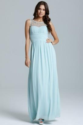Little Mistress Blue Embellished Detail Maxi Dress