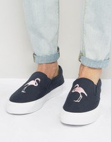 Asos Slip On Sneakers In Navy Canvas With Flamingo Embroidery