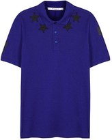 Givenchy Blue Appliquéd Piqué Cotton Polo Shirt