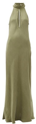 Worme - The High Neck Silk Maxi Dress - Khaki