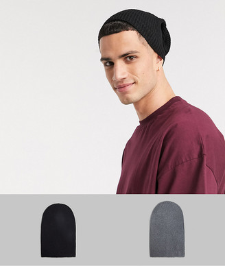 ASOS DESIGN 2 pack slouchy beanie in grey and black SAVE