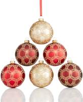 Holiday Lane Set of 6 Glass Shatterproof Ball Ornaments, Created for Macy's