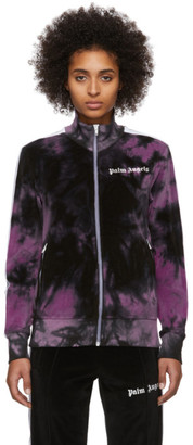 Palm Angels Black and Purple Chenille Tie-Dye Track Jacket
