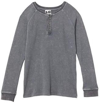 Cotton On Nate Long Sleeve Garment Dye Waffle (Toddler/Little Kids/Big Kids) (Rabbit Grey Snow) Boy's Clothing