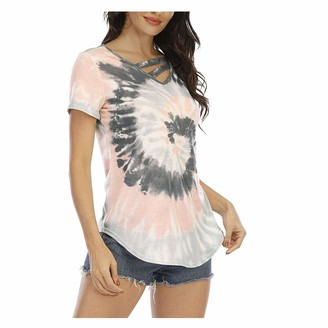 CUTUDU Women T-Shirt Short Sleeve Tops Tie-dye Printed V Neck Tee Shirt Ladies Fashion Casual Summer Blouse Pullover Tee Shirt (A-Gray XXL)