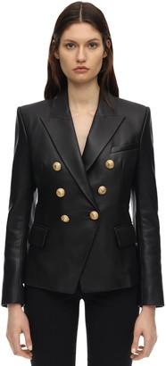 Balmain Double Breasted Leather Jacket