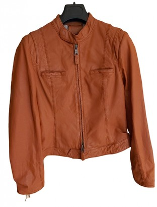 Suite 412 Orange Leather Leather Jacket for Women