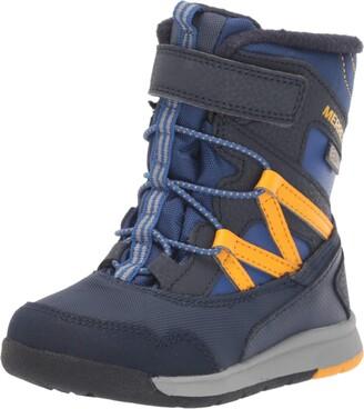 Merrell Snow Crush Waterproof Jr. Boot Little Kid 5 Navy/Saffron