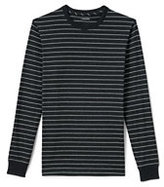 Lands' End Men's Long Sleeve Super-T Striped T-Shirt-Jet Black/White Canvas Plaid