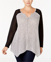 Style&Co. Style & Co. Plus Size Lace-Sleeve Handkerchief Hem Top, Only at Macy's