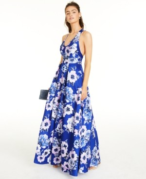 City Studios Juniors' Allover-Floral Gown