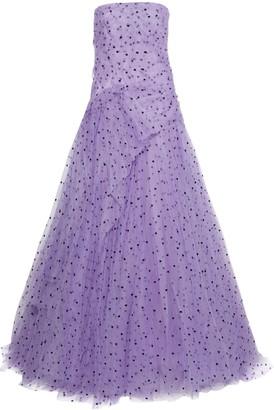 Carolina Herrera Strapless Draped Flocked Tulle Gown